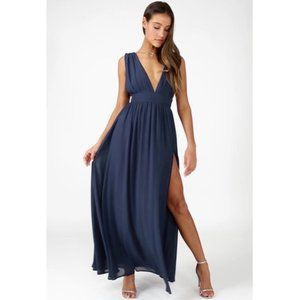 Lulu's Navy Plunging Maxi Dress with Slit Size XS